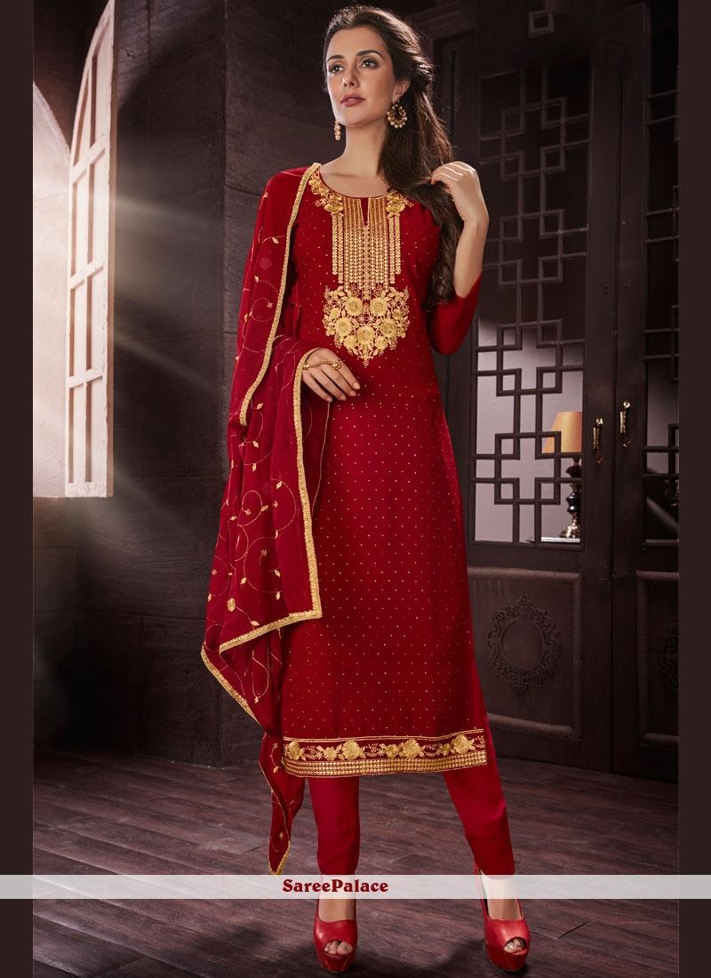 Resham Work Red Faux Georgette Churidar Designer Suit
