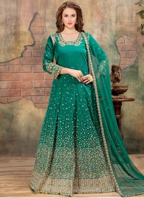 Resham Work Sea Green Floor Length Anarkali Suit