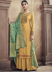 Resham Yellow Designer Palazzo Suit