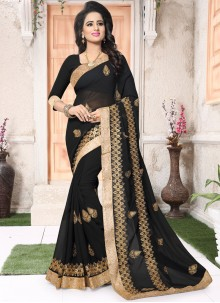 Resplendent Embroidered Work Black Designer Saree