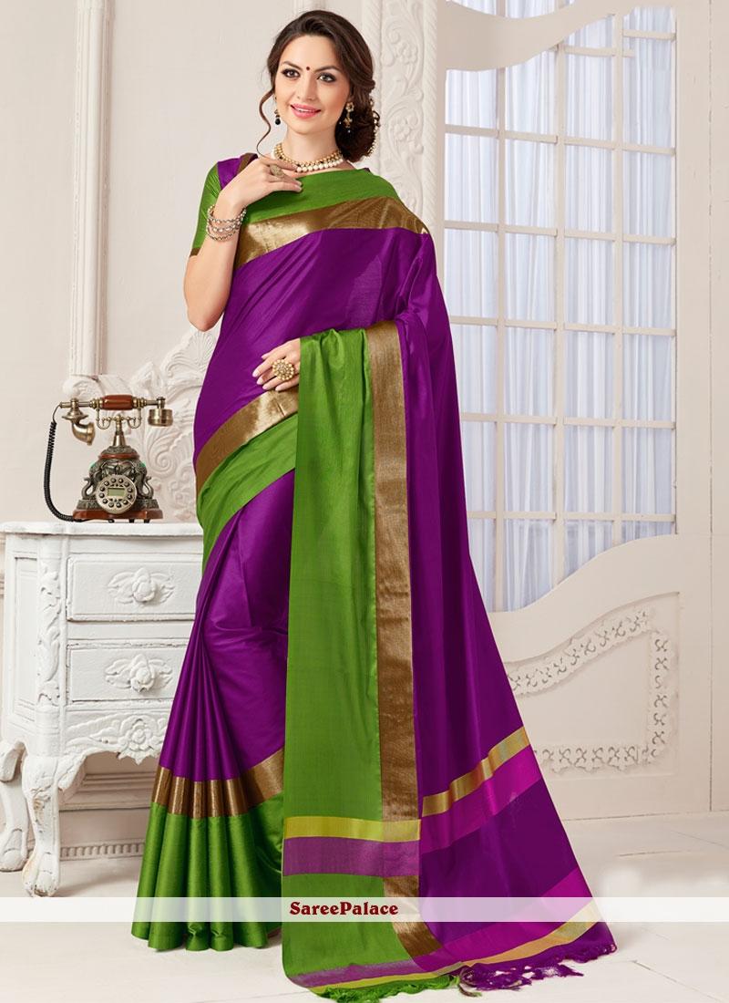 Riveting Art Silk Purple Designer Traditional Saree