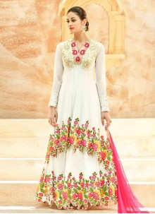 Riveting Embroidered Work Net Floor Length Anarkali Suit