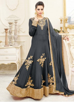 Riveting Grey Floor Length Anarkali Suit
