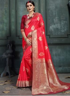 Rose Pink Abstract Print Classic Saree