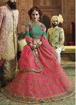 Rose Pink Art Silk Embroidered Lehenga Choli