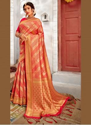 Rose Pink Banarasi Silk Ceremonial Traditional Saree