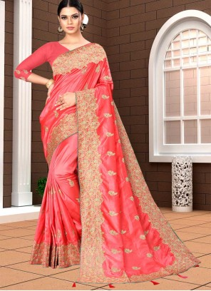 Rose Pink Banarasi Silk Designer Saree