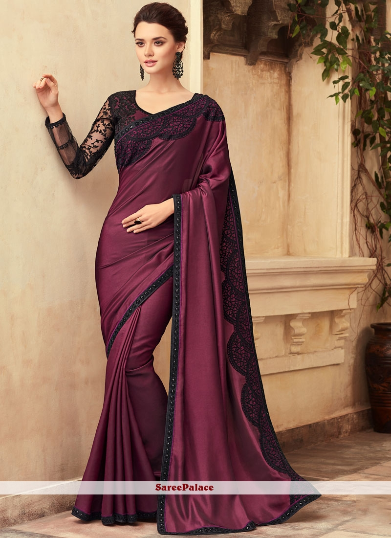 Rose Pink Border Trendy Saree
