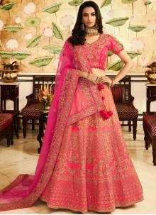 Rose Pink Bridal Art Silk Lehenga Choli