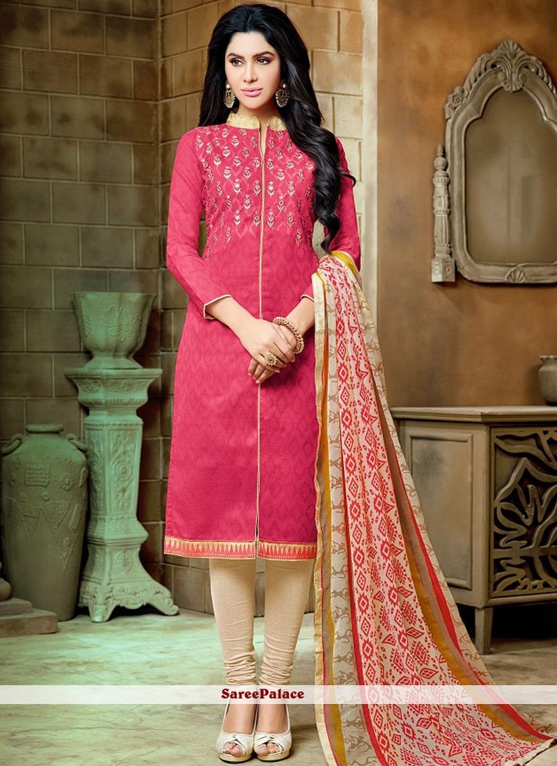 2bc9b802d3 Buy Rose Pink Casual Jacquard Salwar Suit Online