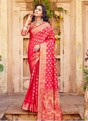 Rose Pink Ceremonial Traditional Designer Saree