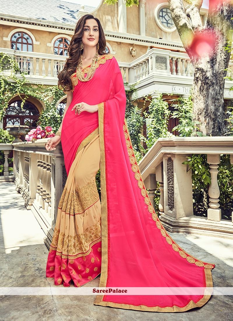 Rose Pink Ceremonial Trendy Saree