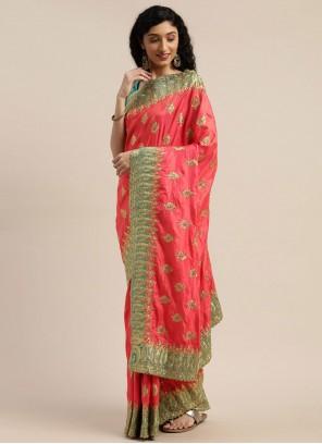 Rose Pink Color Traditional Saree