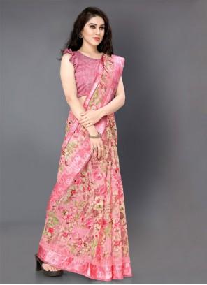 Rose Pink Cotton Floral Print Casual Saree