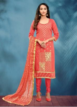 Rose Pink Cotton Silk Churidar Salwar Suit