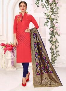 Rose Pink Embroidered Casual Trendy Churidar Salwar Kameez