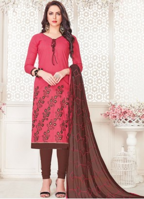 Rose Pink Embroidered Churidar Suit