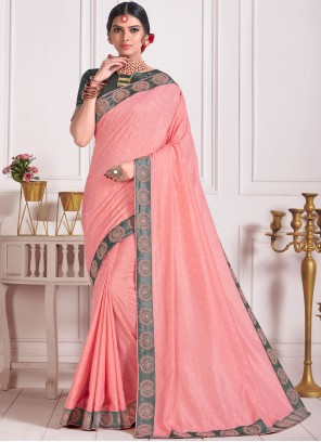 Rose Pink Embroidered Traditional Designer Saree