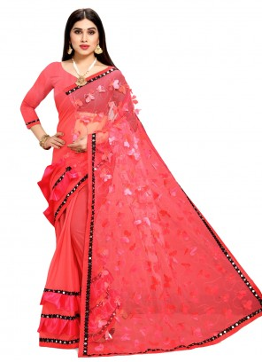 Rose Pink Fancy Faux Chiffon Half N Half Designer Saree
