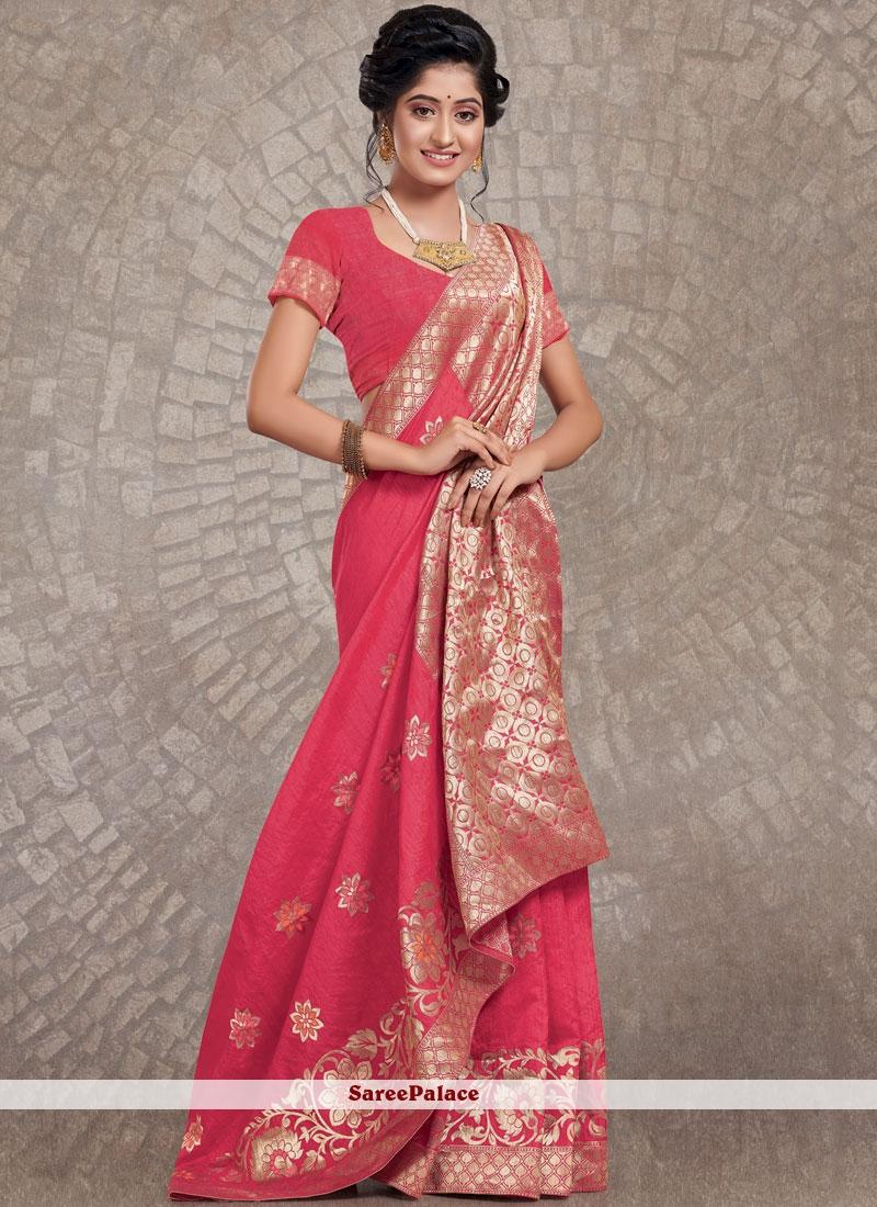 Rose Pink Festival Art Silk Designer Traditional Saree