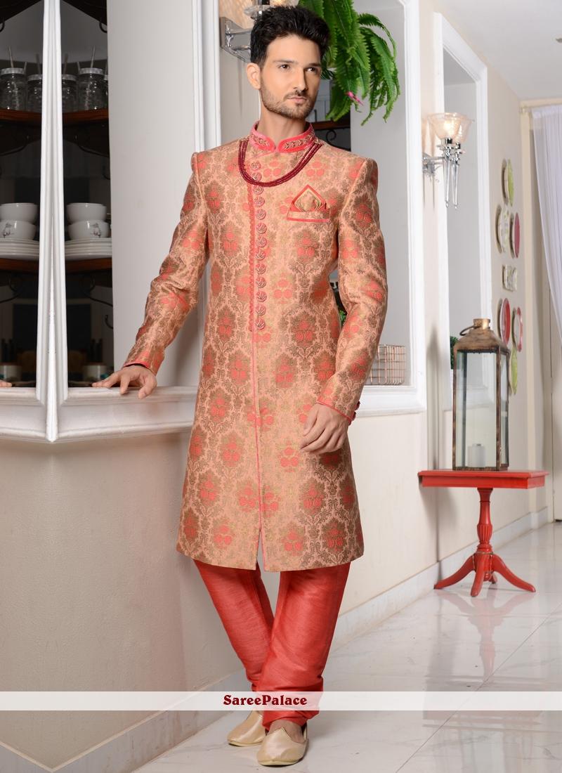 Rose Pink Jacquard Silk Indo Western Sherwani with Embroidered