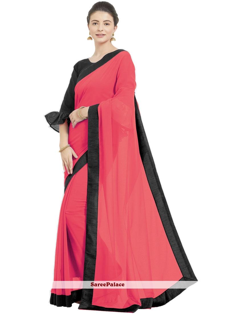 Rose Pink Lace Trendy Saree