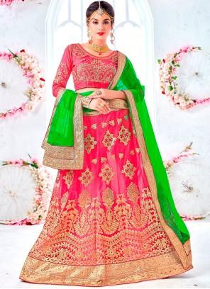 Rose Pink Net Bridal Lehenga Choli