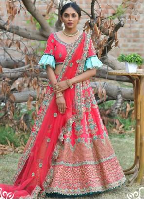 Rose Pink Pashnima Silk Lehenga Choli