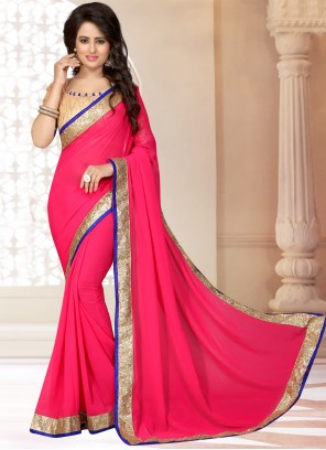 Rose Pink Patch Border Trendy Saree
