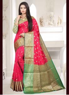 Rose Pink Silk Traditional Designer Saree