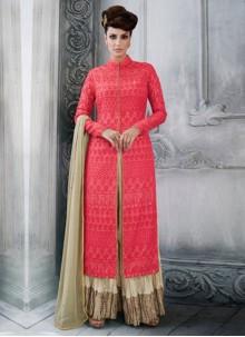 Rose Pink Tussar Silk Designer Palazzo Suit