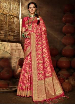 Rose Pink Weaving Banarasi Silk Traditional Designer Saree