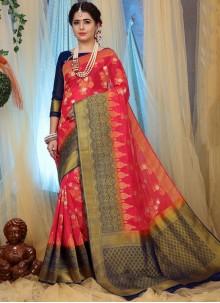 Rose Pink Weaving Ceremonial Traditional Designer Saree
