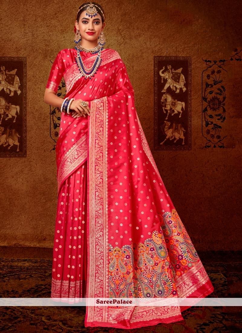 Rose Pink Weaving Designer Traditional Saree