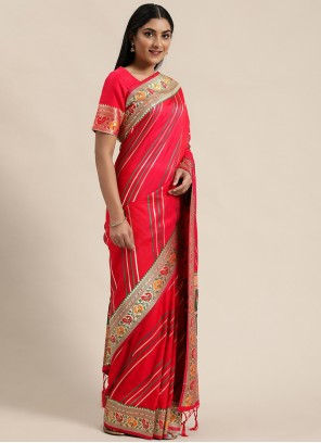 Rose Pink Woven Banarasi Silk Traditional Saree