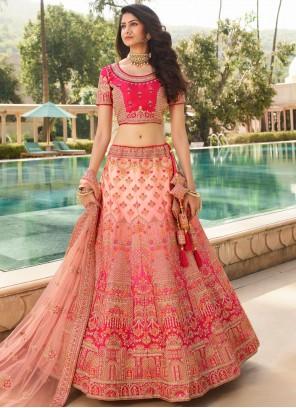Rose Pink Zari Silk Lehenga Choli