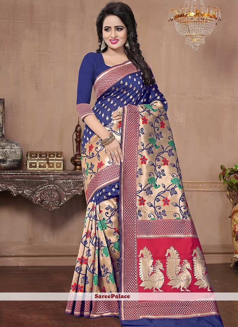791703ea3896b Buy Royal Blue Woven Work Banarasi Silk Saree Online