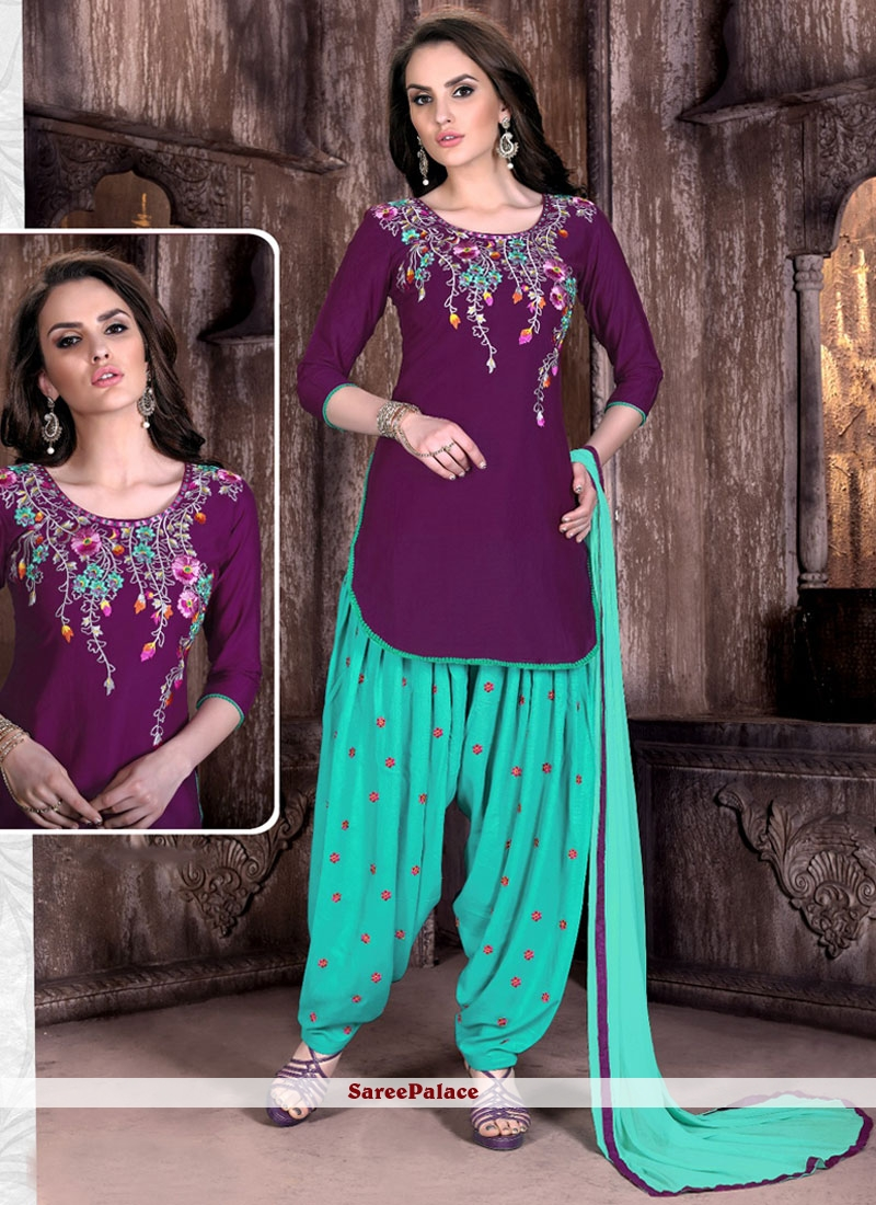 Royal Cotton   Embroidered Work Patiala Suit