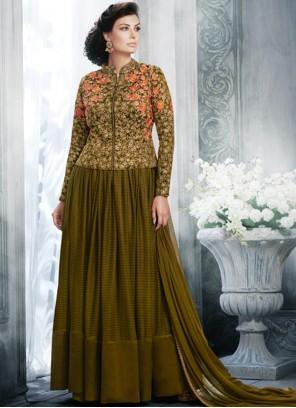 Royal Embroidered Work Floor Length Anarkali Suit