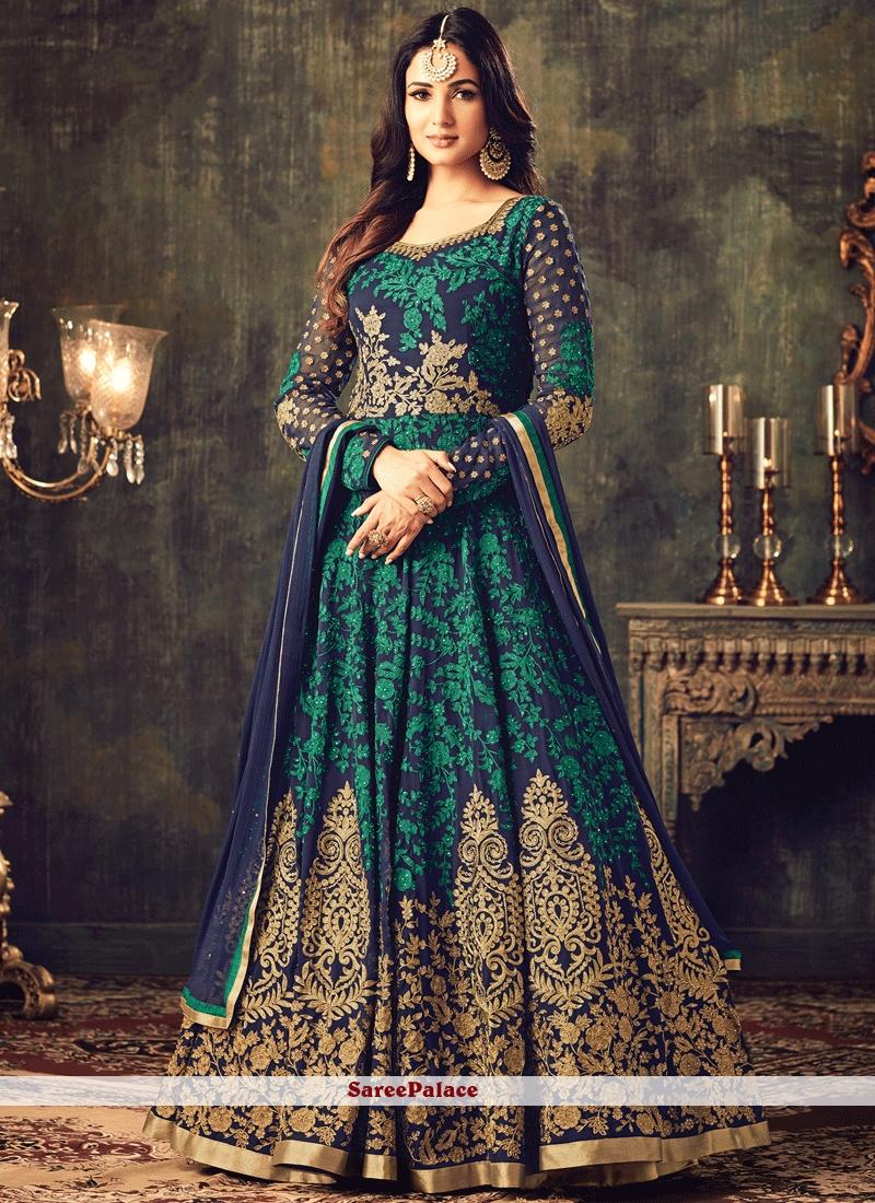 237b610c445 Buy Royal Navy Blue Embroidered Work Faux Georgette Floor Length Anarkali  Suit Online