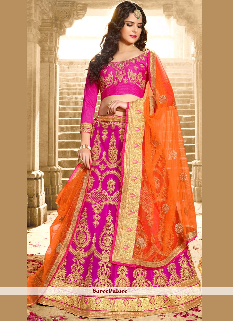 d4b28ffde9 Buy Royal Net Hot Pink Lehenga Choli Online
