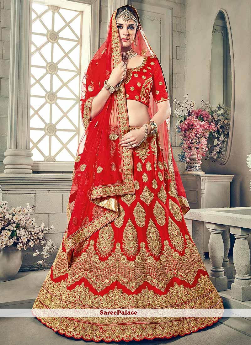 f5d9551a5e Buy Royal Red Art Silk Lehenga Choli Online