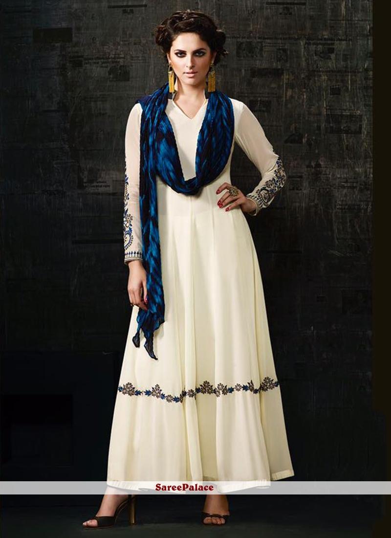 Royal Resham Work Georgette Off White Anarkali Salwar Kameez