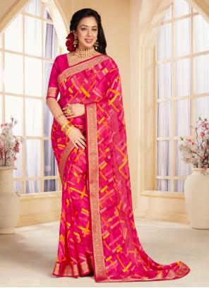 Rupali Ganguly Abstract Print Pink Faux Chiffon Printed Saree