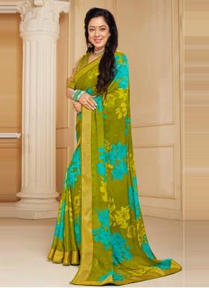Rupali Ganguly Abstract Print Multi Colour Faux Chiffon Printed Saree
