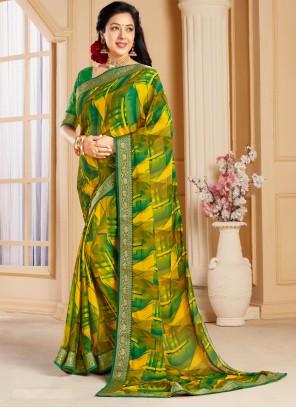 Rupali Ganguly Abstract Print Faux Chiffon Green Printed Saree