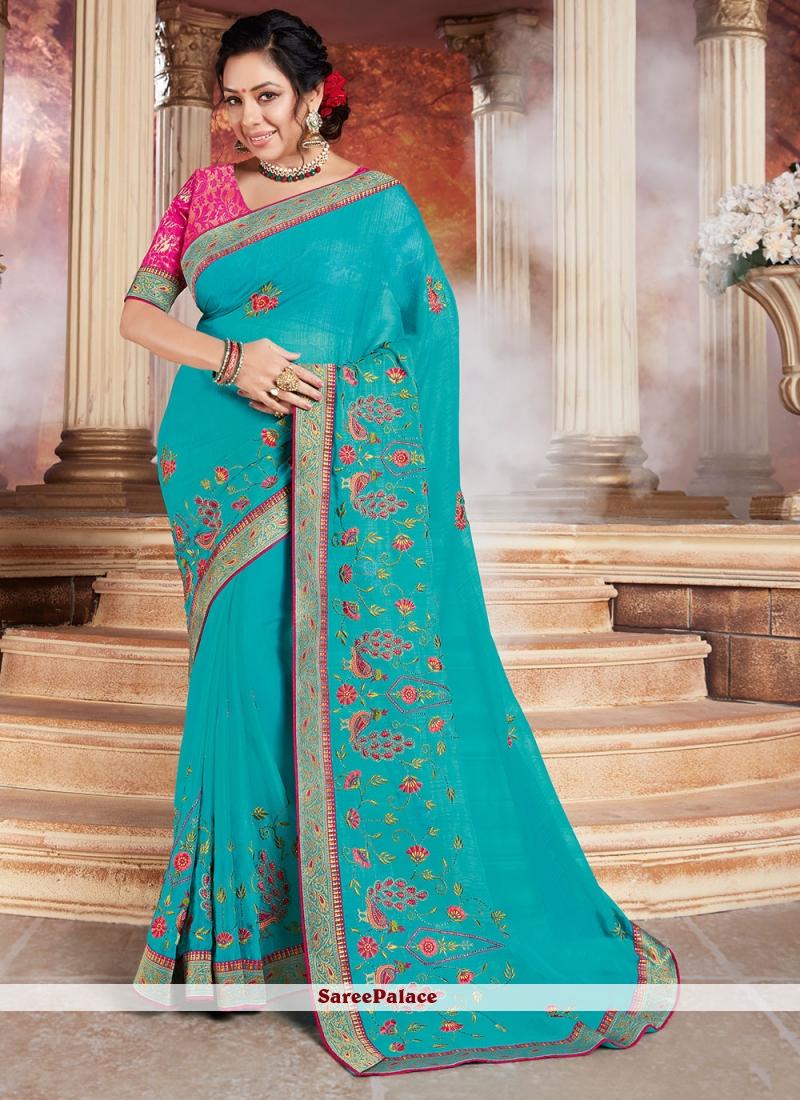 Rupali Ganguly Blue Patch Border Designer Saree