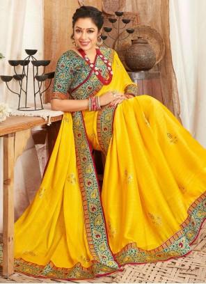 Rupali Ganguly Fancy Fabric Patch Border Yellow Designer Saree