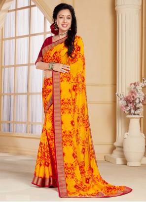 Abstract Print Rupali Ganguly Faux Chiffon Multi Colour Printed Saree