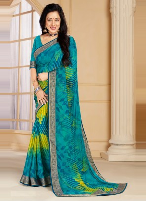 Rupali Ganguly Faux Chiffon Multi Colour Printed Saree